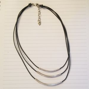 Silpada sterling triple bar strand black necklace
